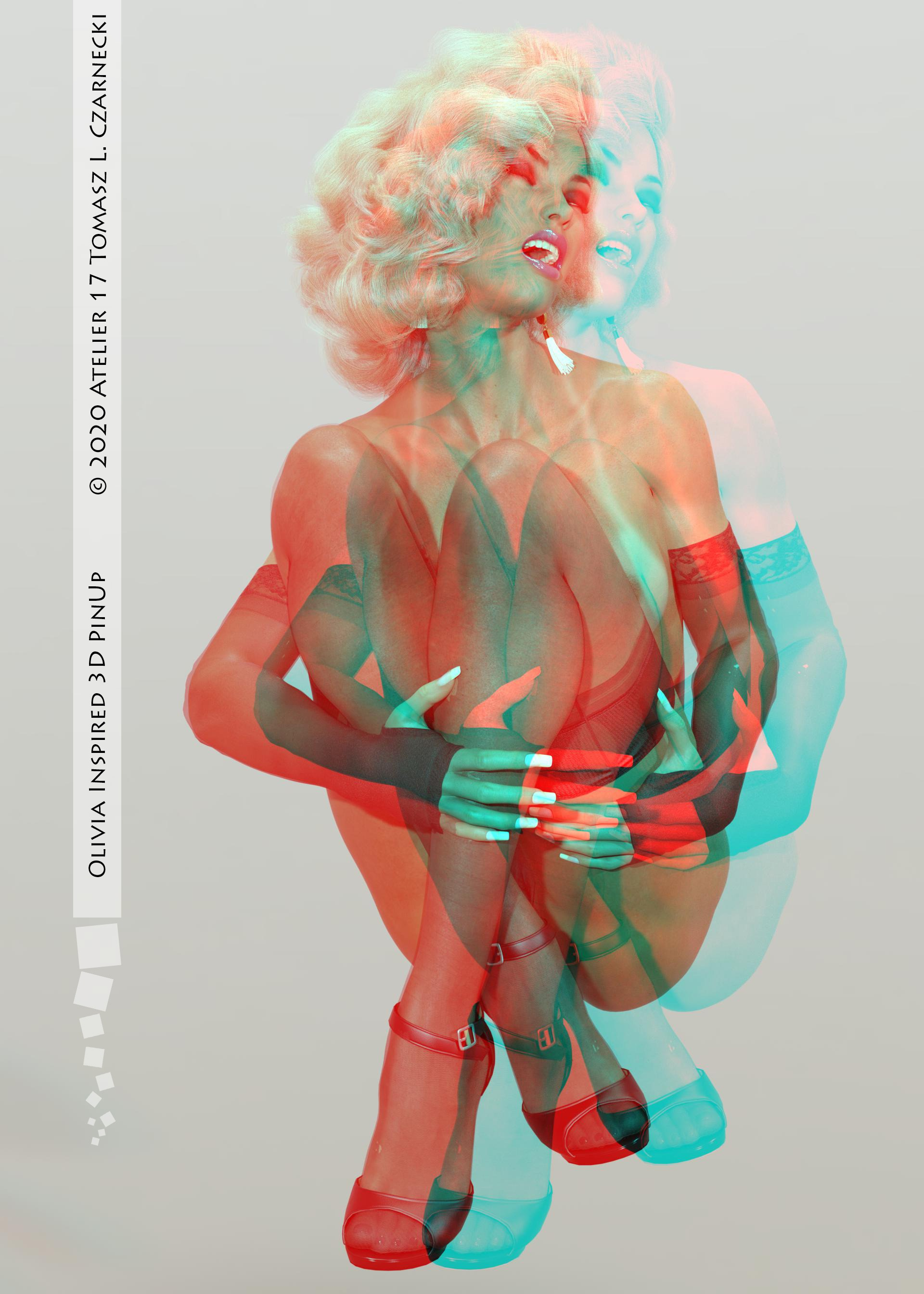 Anaglyph Pinup inspired by Olivia